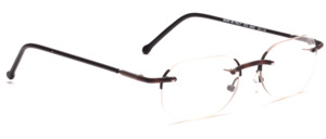 Classic rimless men's frame with nose bridge and jaws in dark brown mottled