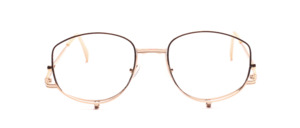 Very attractive make-up or cosmetic glasses made of chased gold-colored metal, to fold down