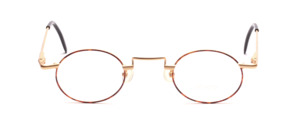 Matt golden metal frame with brown patterned glass rim and with flexible hinge