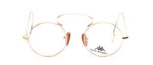 Kappa goggle glasses with high bridge and long gold-matted wire bars with real cork pads