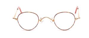 Eine elegante panto Brillenfassung in matt Gold mit braunem Lackdekor