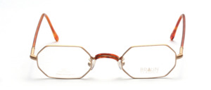 8-cornered metal frame in matt gold with flexible hinge