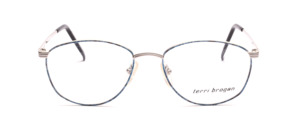 Elegant women's glasses made of metal in matt silver with subtle blue patterned glass rim