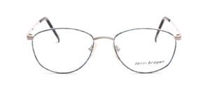 Elegante Damenbrille aus Metall in matt Silber mit dezent Blau gemustertem Glasrand