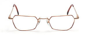 Golden metal frame with brown glass rim and with flexible hinge