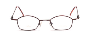 Small metal frame in matt dark brown with flared jaws
