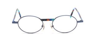 Oval metal frame in fresh blue with colorful patterned acetate straps and accent on the bridge