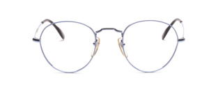 Timeless classic panto frame in a delicate silver blue with light blue glass rim