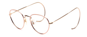 Timeless classic panto frame in gold with pink glass rim and sports strap
