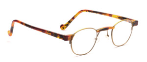 Metal frame from the 1990s in antique gold with colorful acetate bridge, baking and temples in acetate