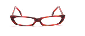 Flat, patterned acetate frame in red, brown and beige