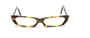 Flat, colorful patterned acetate frame in green, purple and amber