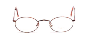 Oval metal frame with flex hinge in brown patterned with chased edge by Braun Classics