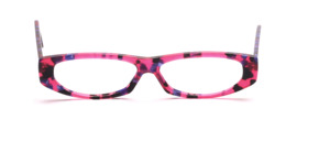 Flat ladies acetate frame in pink, black, purple patterned