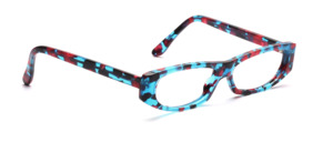 Flat ladies acetate frame in turquoise, pink, black patterned