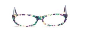 Flat ladies frame made of high quality acetate in transparent, turquoise, purple patterned