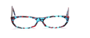 Flat ladies frame made of high quality acetate in blue, red, pink patterned