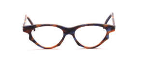 Cateye frame in acetate brown, blue and gold brown patterned
