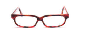 Exclusive handcrafted eyeglass frame in red, aubergine and reed green patterned