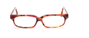 Exclusive handmade frame in brown transparent, red, orange and anthracite patterned
