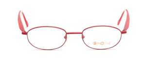 Light metal eyeglasses in red with acetate and beige and red acetate braces by Binocle