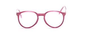 Zeitlose Panto Fassung mit Schlüssellochsteg und oben angesetzten Bügeln in glänzendem Himbeerton auf rosa Innenteil