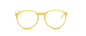 Zeitlose Panto Fassung mit Schlüssellochsteg und oben angesetzten Bügeln in sanften Gelb
