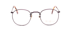 Mens eyeglasses frame in matt purple metal with ornate chisels by Binocle