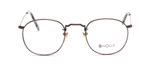 Dark brown metal mens eyeglasses frame with ornate chisels by Binocle