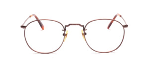 Mens eyeglasses in light brown metal with ornaments by Binocle