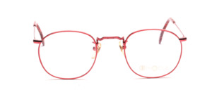 Mens eyeglasses frame in bright red metal with ornate decorations by Binocle