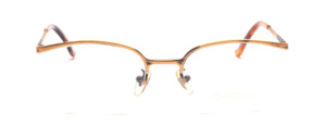 Half rimless frame in antique gold in indicated butterfly shape