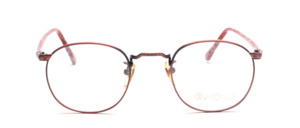 Mens eyeglasses frame in rose made of metal with ornate decorations by Binocle