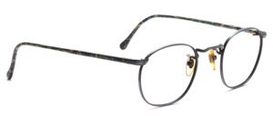 Mens eyeglasses frame in metallic blue metal with elaborate chasing by Binocle
