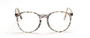 Klassische Pantofassung mit Schlüssellochsteg und oben angesetzten Bügeln aus den 80er Jahren in Transparent mit lila - grün gestreiftem Muster und transparenter Innenseite