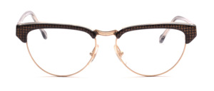 Combination goggles in cateye shape from the 80s in gold with black Acetate rim and temples