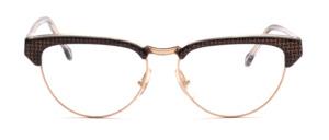 Kombibrille in Cateye Form aus den 80er Jahren in Gold mit Schwarzem Acetatrand und Bügeln