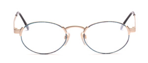 Strong oval metal frame in matt silver with blue patterned glass rim