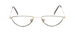 Women's reading glasses in gold with green-black patterned glass rim
