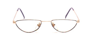 Reading glasses for ladies in gold with purple patterned glass rim