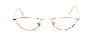Women's reading glasses in gold with pink patterned glass rim