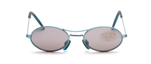 Oval children's sunglasses in blue metal with gray lenses
