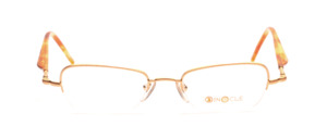 Half rim goggles in matt gold with light brown acetate straps