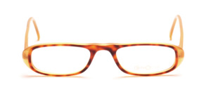 Half glasses in honey colors with a brown patterned front