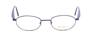 Light blue metal eyeglasses with acetate and blue and brown arms by Binocle