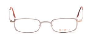 Square metal frame in a good portable size of Binocle in light gray with golden accents on the cheek