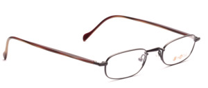 Metal frame in matt dark gray with acetate temples in dark red horn