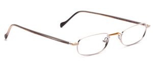 Metal bezel in matte silver with matte gold accents and with acetate temples in black-brown