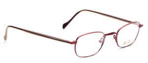 Stainless steel frame in matte cherry red with acetate temples in dark red-green
