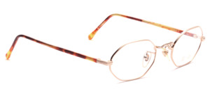 Octagonal golden metal frame with brown patterned acetate hangers